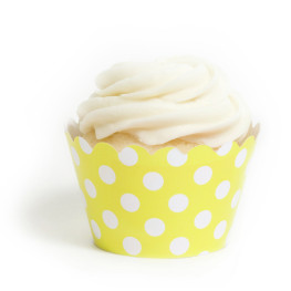 Cupcake Wrappers Gelb, Polka Dots
