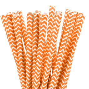 Papierstrohhalme Orange, Chevron-Muster