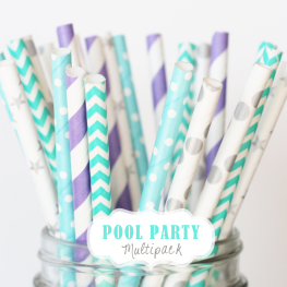 Papierstrohhalme Pool Party-Mix // Papierstrohhalme