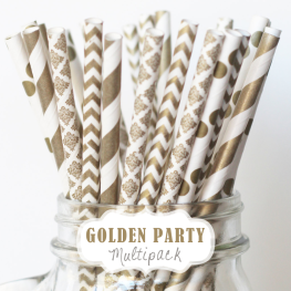Papierstrohhalme Golden Party-Mix // Papierstrohhalme