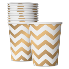 Party-Pappbecher mit Gold-Chevron-Muster