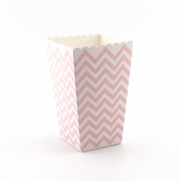 Popcorn-Box aus Pappe in Rosa, Chevron-Muster