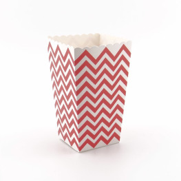 Popcorn-Box aus Pappe in Rot, Chevron-Muster