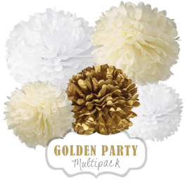 "Pom Poms Set ""Golden Party"" by nillie"