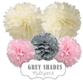 "Pom Poms Set ""Grey Shades"" by nillie"