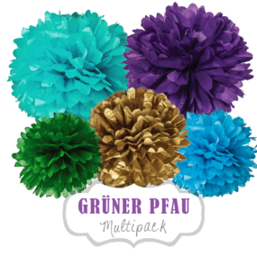 "Pom Poms Set ""Grüner Pfau"" by nillie"