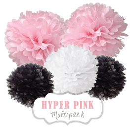 "Pom Poms Set ""Hyper Pink"" by nillie"
