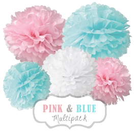 "Pom Poms Set ""Pink & Blue"" by nillie"