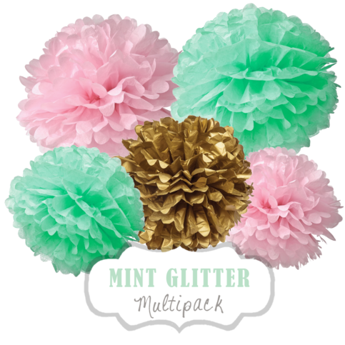 "Pom Poms Set ""Mint Glitter"" by nillie"