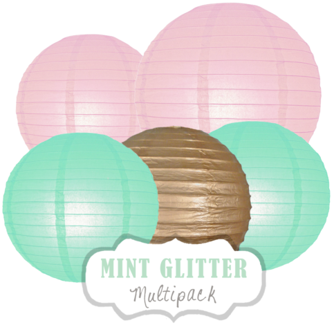 "Lampions-Set ""Mint Glitter"" by nillie"