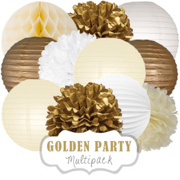 Party-Deko-Set (Gold, Elfenbein u. Weiß)