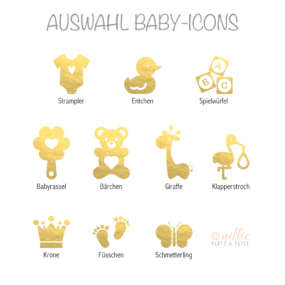 Auswahl Baby-Icons Gold (Personalisiertes by nillie)