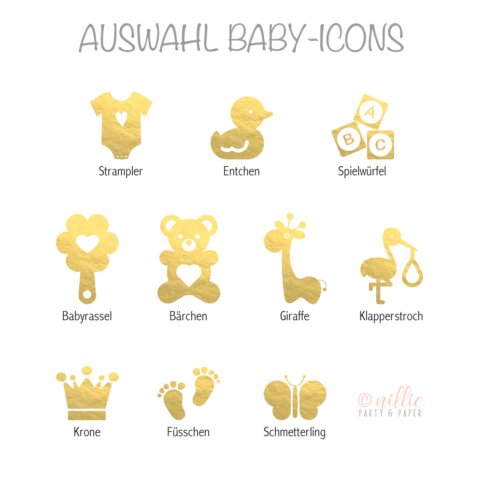 Auswahl Baby-Icons Weiß (Personalisiertes by nillie)