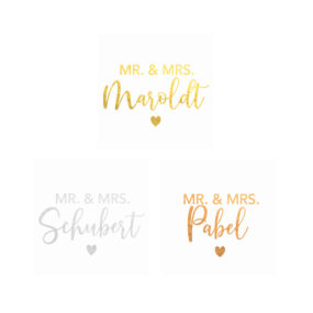 Personalisierte Aufkleber 5 x 5 cm (Gold, Roségold u. Silber), Mr. & Mrs. + Familienname