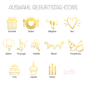 Auswahl Geburtstag-Icons Gold (Personalisiertes by nillie)