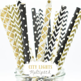 "Papierstrohhalme im Set ""City Lights"" in Schwarz und Gold"