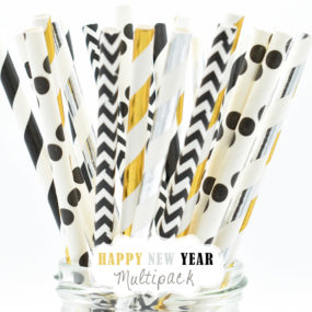 "Papierstrohhalme im Set ""Happy New Year"" in Schwarz, Silber u. Gold"